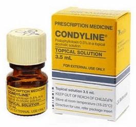Condyline (podofyllotoxine) aanstipvloeistof