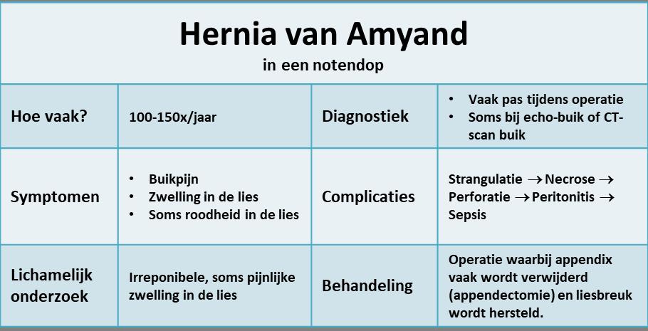 hernia van Amyand in een notendop