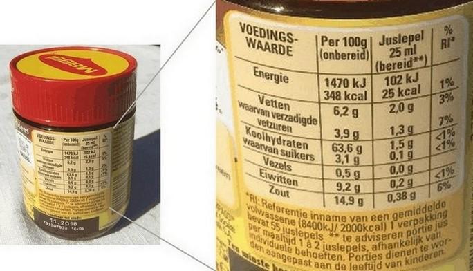 de voedingswaarde van een product staat weergegeven op het voedingswaarde-etiket