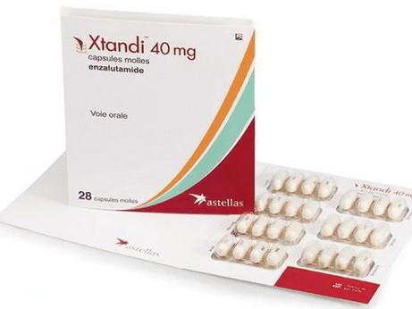 enzalutamide (Xtandi) verpakking met zachte capsules