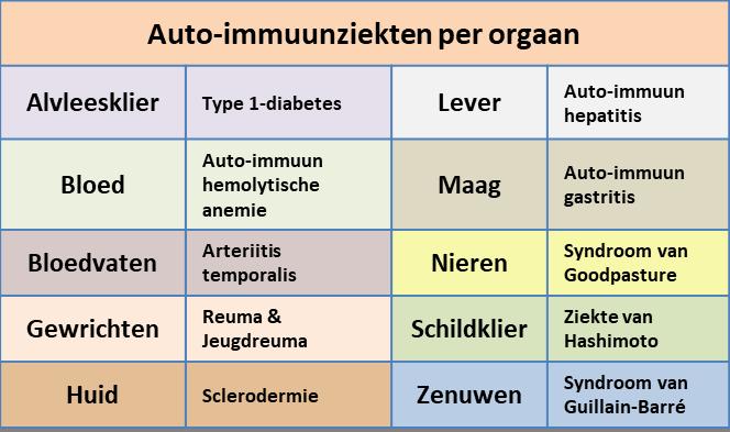voorbeelden van auto-immuunziekten per orgaan