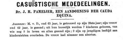 vroege beschrijving van het caudasyndroom in het NTvG van 1907