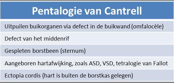 pentalogie van Cantrell - afwijkingen