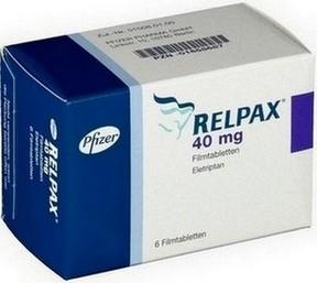 verpakking Relpax (eletriptan) tabletten