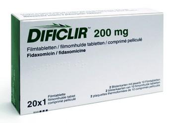 verpakking Dificlir (fidaxomicine) 200 mg tabletten