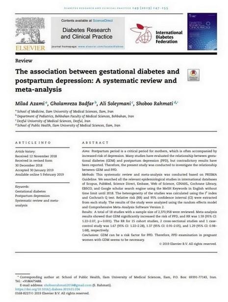 artikel over postpartum depressie na zwangerschapsdiabetes