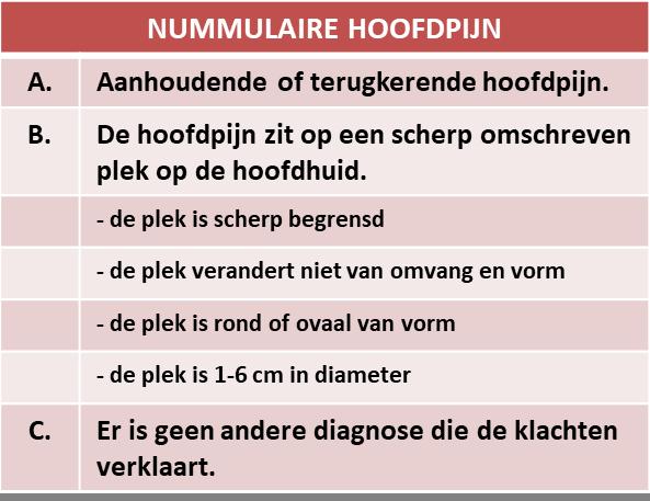 nummulaire hoofdpijn ('munthoofdpijn') - criteria voor het stellen van de diagnose