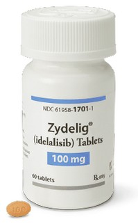 verpakking Zydelig (idelalisib) 100 mg tabletten